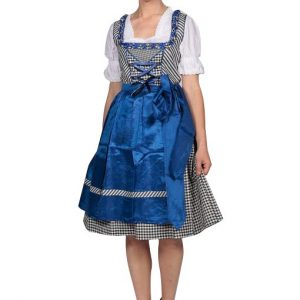 Satin Blue Checkered Dirndl Product front