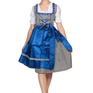 Satin Blue Checkered Dirndl Skirt