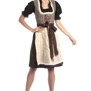 White Grey Checkered Dirndl Dress Product front